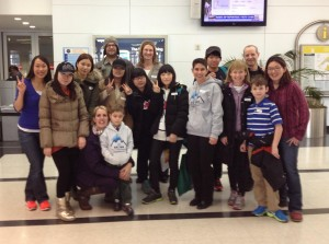 Host Families and Participants on Arrival Day (February 18, 2013)