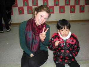 Stephanie and a child at Samsungwon