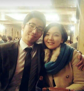 Hydeong (left) and his fiancée. They're getting married next year.