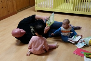 Bill hangs out with some of the youngest children at Emmanuel Children's Home, an orphanage in Gimcheon, South Korea