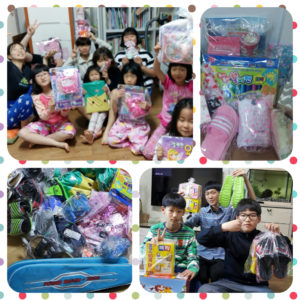 Kids and Orphans at Samsungwon Orphanage receive their presents on Children's Day, May 5, 2016