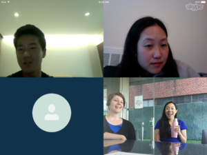 JinDong (top left) discusses his internship at Samsung Card with the KKOOM Board via Skype