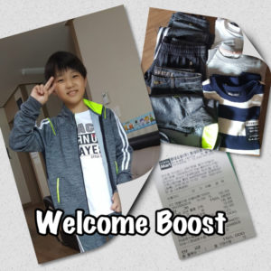 Through the Welcome Boost Program, KKOOM provided new clothes for a boy at a Korean orphanage