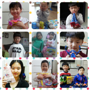 Kids at Samsungwon receive their presents on Children's Day, May 5, 2016